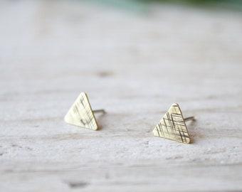 Triangle tiny stud earrings, gold lobe earrings, men stud earrings, handmade brass earrings, minimal stud earrings, triangle earrings