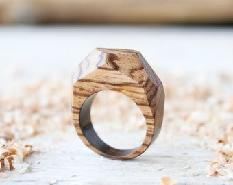 Handmade wood ring for men, wooden ring jewels, custom ring, men wedding band ring, wooden jewelry, geometric man ring, natural wood ring