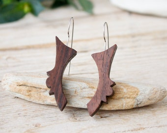 Wood dangle long earrings, handmade natural rosewood geometric earrings, minimalist wood earrings gift for women, stainless steel hooks