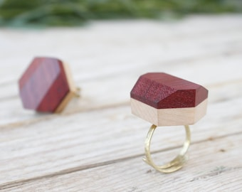 Wood ring for women, golden band ring adjustable, wood gold rings, adjustable rings for women, open ring, ring for woman handmade