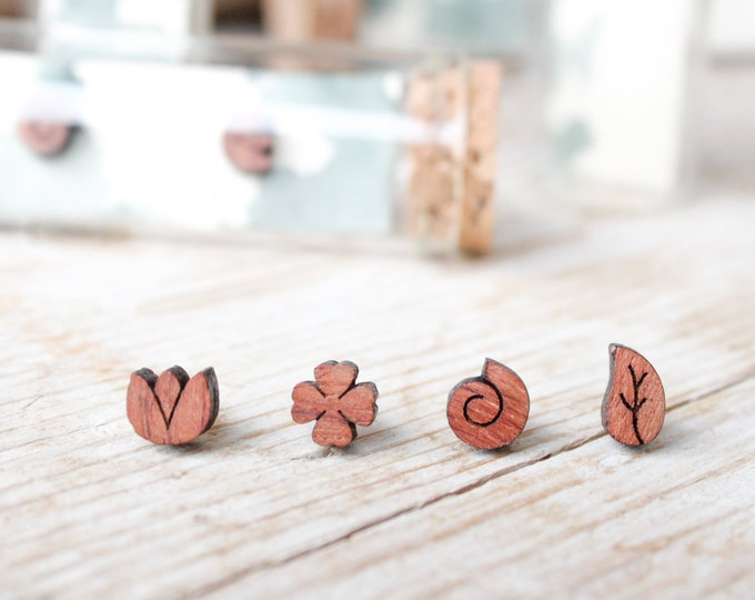Featured listing image: Nature stud earrings, wood earrings studs for men and women, natural wood tiny stud handmade earrings, leaf, bud, snail, four-leaf clover