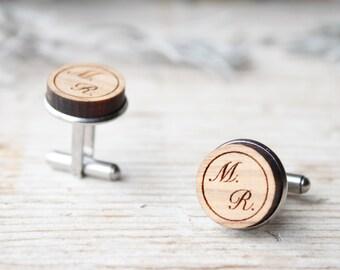 Custom olive wood cufflinks, wedding gift groom personalized, date and initials cufflinks stainless steel, birthday, anniversary man cuffs