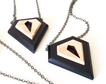 Geometric diamond wood necklace, with ebony and maple wood pendant and steel chain, for men and women