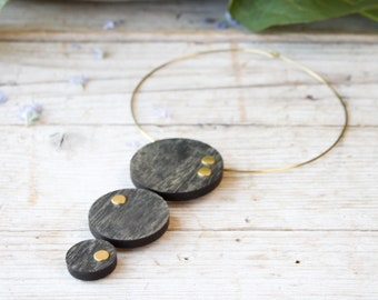 Necklace for women, wood pendant necklace handmade, choker collar for woman, wood collar necklace with brass choker