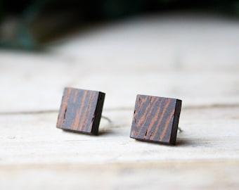 Square stud lobe earrings, hypoallergenic steel stud, wood earrings men, black natural wood and steel stud earrings, wood stud earrings