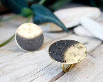 Gold ring handmade adjustable, moon ring, open ring round geometric, tiny gold moon eclipse ring, rings for women, open adjustable rings
