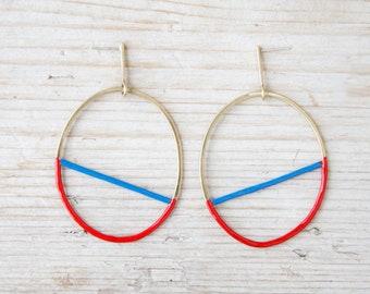 Hoop earrings gold with blue and red enamel, handmade large hoop earrings brass and silver studs, dainty oval earrings studs