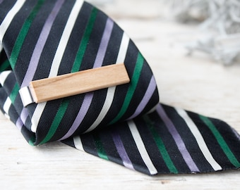 Tie clip for men, tie clip wood, tie clips groomsman, tie clip for groom, groomsman tie bar, stainless steel and precious olive wood
