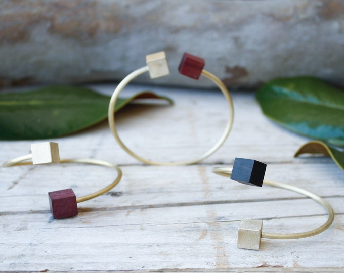 Featured listing image: bracelet for woman, bangle gold open, statement geometric bracelet adjustable, gold bangle brass and wood, jewelry gift, bracelet charm