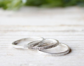 Stacking ring set, set of 3 silver rings for men and women, boho rings, handmade silver rings, minimal rings, contemporary ring unisex
