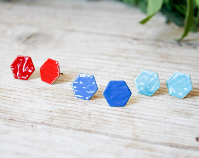 Featured listing image: Hexagon earrings stud, enamel earrings stud handmade with brass and silver studs, minimal earrings studs