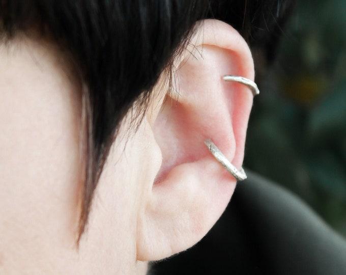Featured listing image: Ear cuff earrings no piercing, sterling silver minimal earrings, handmade earrings for women, ear climber earrings hoop, fake piercings