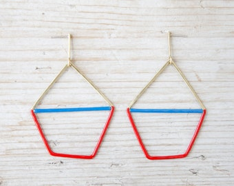 Geometric gold earrings with red and blue enamel, handmade large brass earrings and silver studs, dainty earrings studs