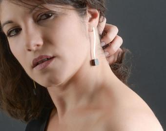 Gold dangle earrings, handmade earrings, dangle earrings women, minimalist earrings, wooden earrings, jewelry gifts for women, gift for her