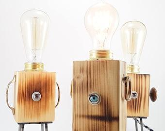 industrial table lamp vintage,  robot lamp, steampunk decor, edison lamp, desk lamp, bedside lamp, wooden lamp, rustic home decor