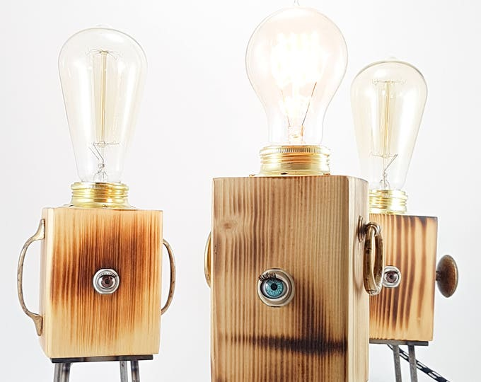 Featured listing image: industrial table lamp vintage,  robot lamp, steampunk decor, edison lamp, desk lamp, bedside lamp, wooden lamp, rustic home decor
