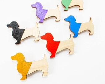 Dachshund wooden brooch animal lovers, sausage dog gifts, enamel pin handmade, basset hound pet dog pin, pet lover gift, dog charm