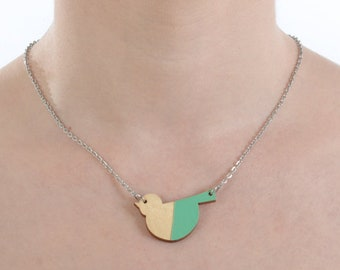 Wooden Bird Necklace, hand painted wood jewelry for animal lovers, with stainless steel hypoallergenic chain