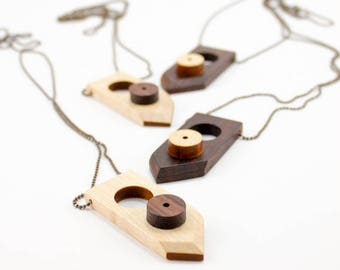 Geometric wood necklace with minimal pendant and diamond ball chain, in Rosewood and Maple wood, for men and women