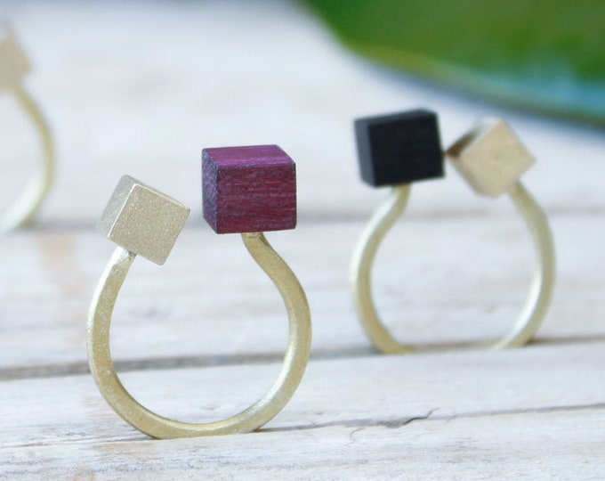 Featured listing image: Golden band ring adjustable, wood geometric cube ring, minimal gold rings, rings for women, open ring, adjustable ring for woman handmade