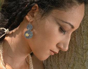 Pendant earrings for women, wooden earrings for women handmade with handpainted mahogany wood and brass, hypoallergenic earrings studs
