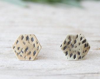 Hexagon tiny stud earrings, gold lobe earrings, men stud earrings, handmade brass earrings, minimal stud earrings, triangle earrings