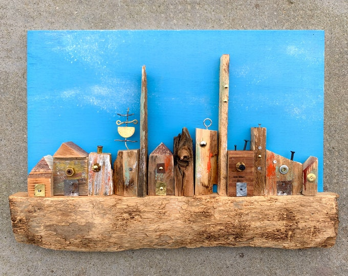 Featured listing image: Wall art sculpture handmade with recycled wood, urban landscape, unique piece art decor, wood wall art, wood wall decor, wooden art
