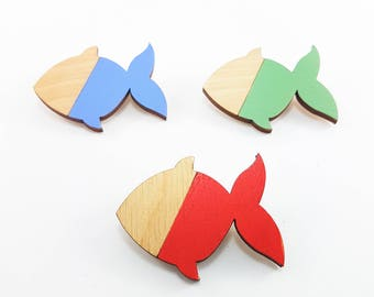 Animal brooch, fish pin, handprinted wood brooch, fancy goldfish brooch, enamel pin, good luck gifts, goldfish jewelry, unique gift for her