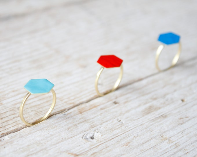 Featured listing image: Hexagon ring gold adjustable for women, gold brass with enamel ring, adjustable gold ring, handmade contemporary ring