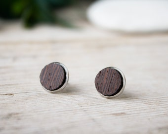 Fake plug geometric round earrings, Wood and steel, lobe, ear steel studs, minimal wengè wood, round wood earrings, men wood earrings