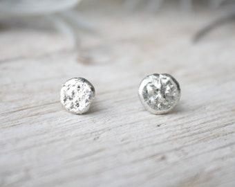 Earrings studs silver, handmade round tiny stud lobe earrings, silver lobe earrings, women stud earrings, handmade silver earrings