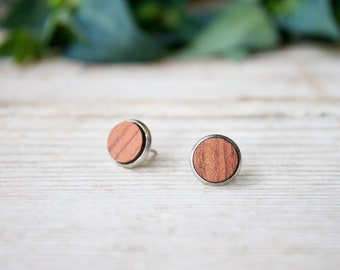 Fake plug geometric round earrings, wood and steel, lobe, ear stainless steel studs , minimal bubinga wood, unisex wood men earrings