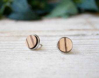 Fake plug earring, man earring, round wood lobe earrings for man and woman, wood earrings with steel stud, fake plug wood earrings for men