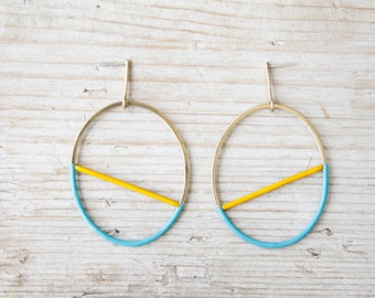 Hoop earrings gold with yellow and turquoise enamel, handmade large hoop earrings brass and silver studs, dainty oval earrings studs