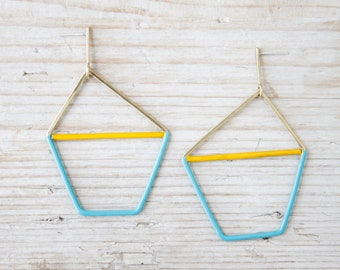 Geometric gold earrings with yellow and turquoise enamel, handmade large brass earrings and silver studs, dainty earrings studs