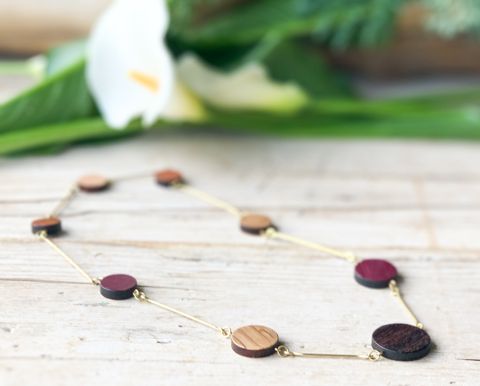 Gold flexible choker handmade necklace for woman minimal necklace gift for girl bridesmaid shiny hammered brass and geometric wood