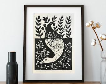 Original Linocut Art Print with Diving Duck