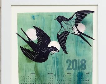 2018 Wall Calendar- Letterpress Printed Birds