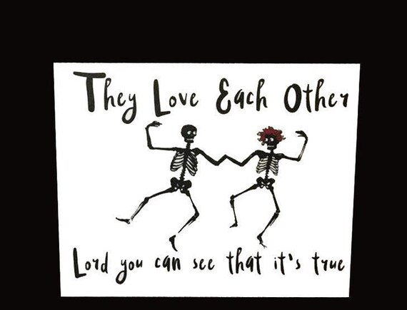 Greeting Card They Love Each Other Dancing Skeletons Grateful Etsy