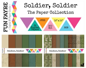 ARMY / MILITARY PAPER 12x12 Digital Pack • 32 x Soldier Green, Brown, Cream, Camouflage, Distressed • jpeg • rgb • 300 dpi •