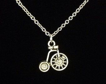 Tiny silver penny-farthing bicycle charm pendant necklace