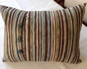 Handmade handcrafted accent pillow with genuine surf-tumbled sea beach glass buttons