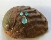 Sea Beach Glass Genuine Surf-tumbled Deep Aqua Pendant Earring set Jewelry-quality flawless nicely shaped Ready for Jewelry Making