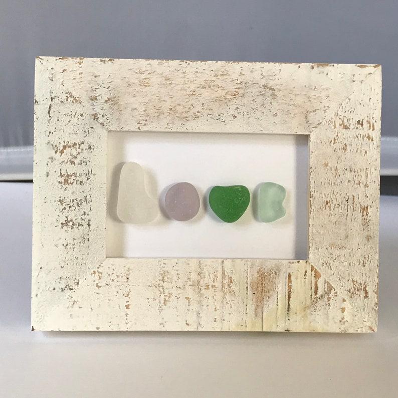 Genuine Sea Beach Glass Art \u201cLOVE\u201d Framed Picture Handmade Handcrafted 3 12 x 4 12 Rustic Frame Unique One-of-a-kind Original