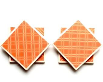 Orange coasters - Coasters - Tile Coasters - drink coasters - wedding gifts - pretty coasters
