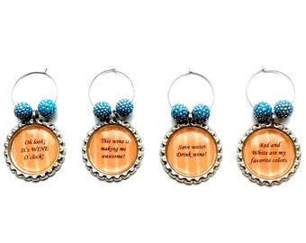 Wine charms - wine accessories  - wine glass - charms - wine party - wine lover - wine humor - drinkware - barware