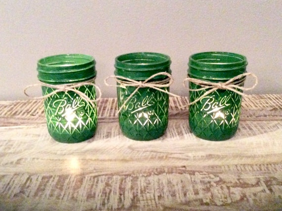Mason Jar Candle Holder Set Green Decor Mason Jar Tea Light Etsy