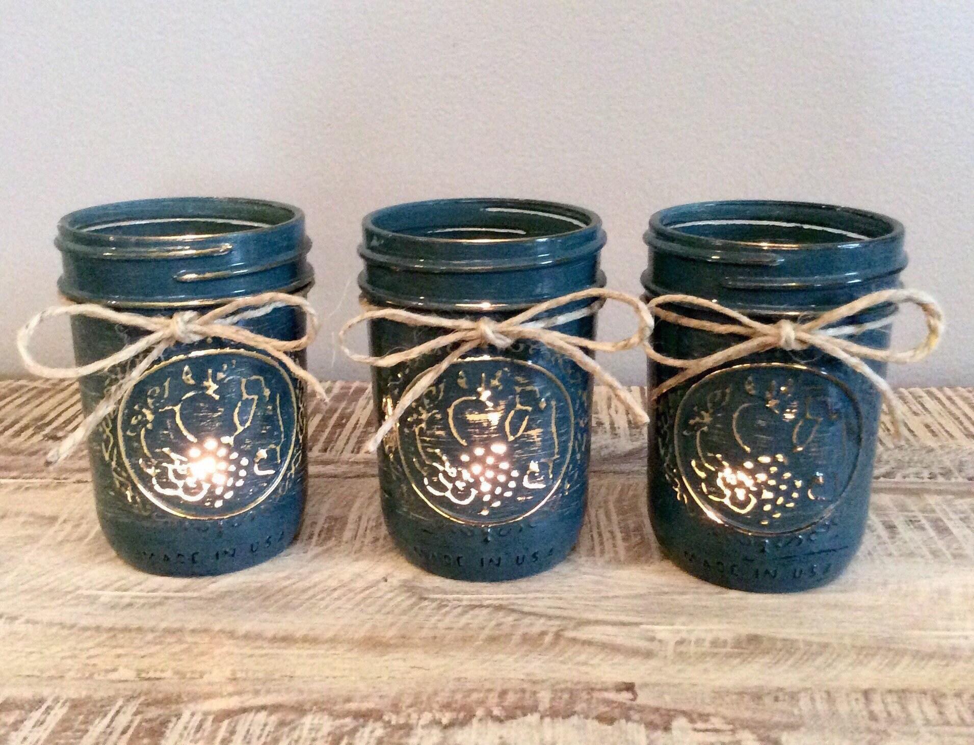 Mason Jar Candle Holder Set Mason Jar Tea Light Holder Mason Etsy