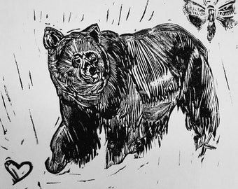 Grizzly Bear Linoleum Print