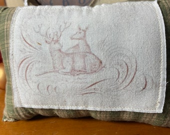 Winter Christmas Accent Pillow Tuck Homespun Soft Country Home Decor Upcycle Plaid Muslin Handmade Fabric Vintage Art